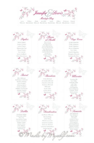 Butterfly Garden Table Plan